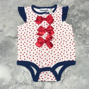 First impression red white blue onesie 3-6 mo